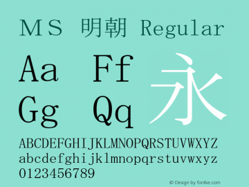 MS 明朝 Regular MS core font:V1.07图片样张