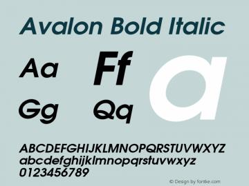 Avalon Bold Italic 001.003 Font Sample