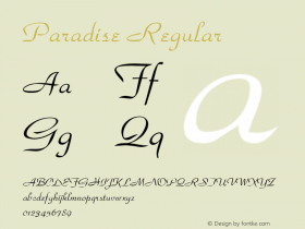Paradise Regular v1.0c Font Sample