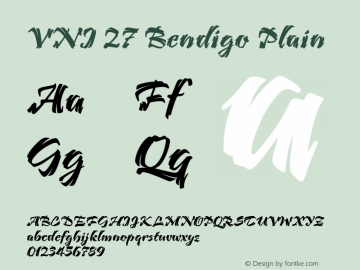 VNI 27 Bendigo Plain Version 2.0 Font Sample