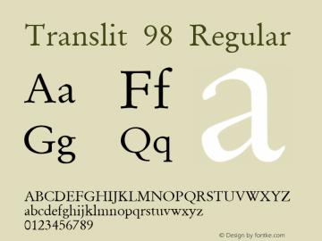 Translit 98 Regular Macromedia Fontographer 4.1 2.10.98 Font Sample