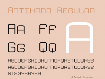 Antihand Regular Version 001.000 Font Sample