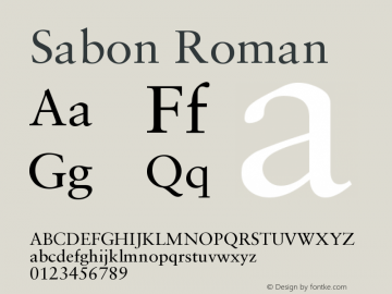 Sabon Roman Version 001.000 Font Sample