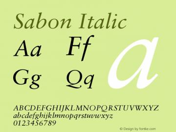 Sabon Italic Version 001.000 Font Sample