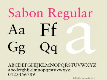 Sabon Regular Version 6.1; 2002 Font Sample