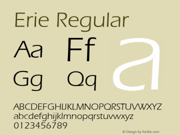 Erie Regular v1.00 Font Sample