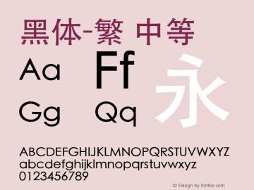 黑体-繁 中等 10.0d5e1 Font Sample