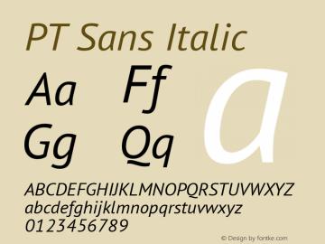 PT Sans Italic Version 1.000 Font Sample