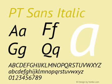 PT Sans Italic Version 2.001 Font Sample