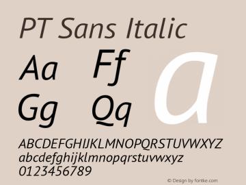 PT Sans Italic Version 2.004 Font Sample