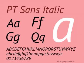 PT Sans Italic Version 2.003W Font Sample