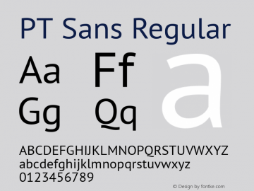 PT Sans Regular 7.0d1e1 Font Sample