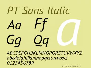 PT Sans Italic Version 2.005W Font Sample