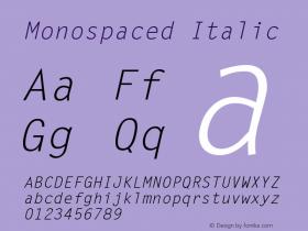 Monospaced Italic 1.0 Wed Nov 18 10:46:00 1992 Font Sample