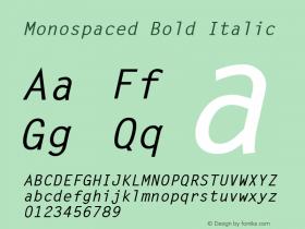 Monospaced Bold Italic 1.0 Wed Nov 18 10:49:57 1992 Font Sample