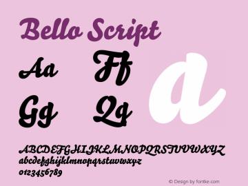 Bello Script Version 1.110 2004 Font Sample