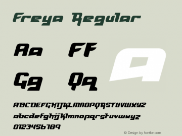 Freya Regular Macromedia Fontographer 4.1 24/12/99 Font Sample