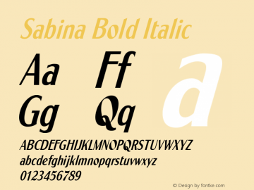 Sabina Bold Italic Altsys Fontographer 3.5  9/15/95图片样张
