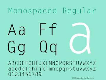 Monospaced Regular v1.0c Font Sample