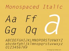 Monospaced Italic v1.0c Font Sample