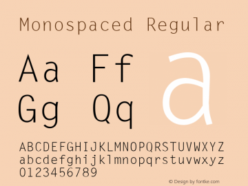 Monospaced Regular v1.0c Font Sample