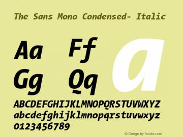 The Sans Mono Condensed- Italic Version 001.000 Font Sample