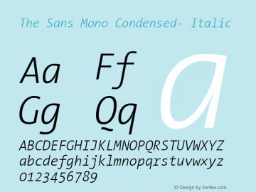 The Sans Mono Condensed- Italic Version 001.000 Font Sample