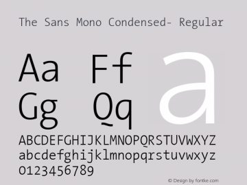 The Sans Mono Condensed- Regular Version 001.000 Font Sample