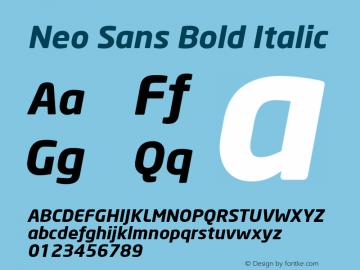 Neo Sans Bold Italic Version 001.000 Font Sample