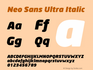 Neo Sans Ultra Italic Version 001.000 Font Sample
