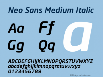 Neo Sans Medium Italic Version 001.000 Font Sample