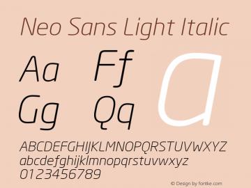 Neo Sans Light Italic Version 001.000 Font Sample