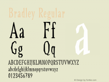 Bradley Regular Version 1.00 Font Sample