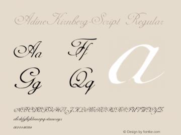 AdineKirnberg-Script Regular Converted from F:\WINDOWS\TTFONTS\ADKS____.TF1 by ALLTYPE Font Sample