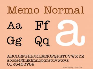 Memo Normal Altsys Fontographer 4.1 1/8/95 Font Sample