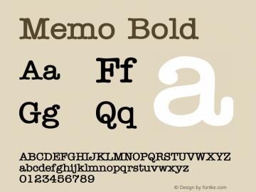 Memo Bold Altsys Fontographer 4.1 1/8/95 Font Sample