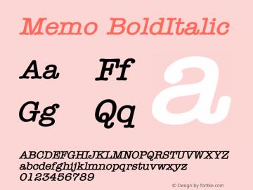 Memo BoldItalic Altsys Fontographer 4.1 1/8/95 Font Sample