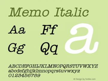 Memo Italic Altsys Fontographer 4.1 1/8/95 Font Sample