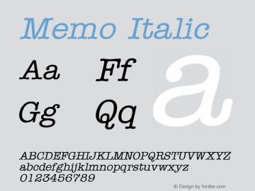 Memo Italic Altsys Fontographer 4.1 5/9/96 Font Sample