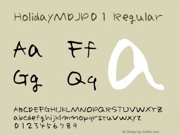 HolidayMDJP01 Regular 2.5J Font Sample