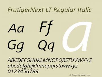 FrutigerNext LT Regular Italic Version 2 Font Sample