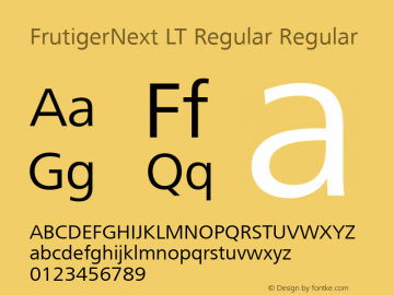 FrutigerNext LT Regular Regular Version 2 Font Sample