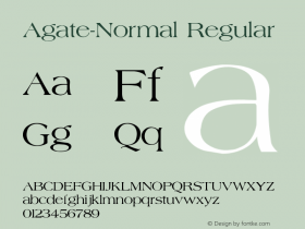 Agate-Normal Regular Converted from c:\windows\system\AGATE.TF1 by ALLTYPE Font Sample