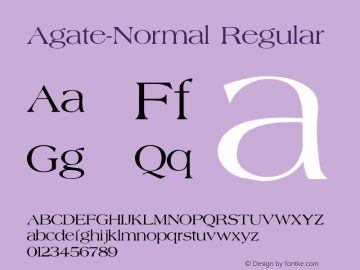 Agate-Normal Regular Converted from C:\TTFONTS\AGATE.TF1 by ALLTYPE Font Sample