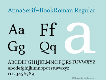 AtmaSerif-BookRoman Regular 004.301 Font Sample