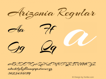 Arizonia Regular Version 1.003 Font Sample