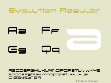 Evolution Regular Version 1.00 Font Sample