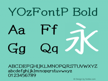 YOzFontP Bold Version 13.0 Font Sample