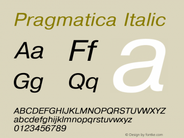 Pragmatica Italic 1.0 Wed Mar 16 19:48:58 1994 Font Sample
