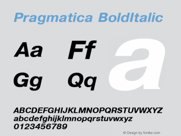 Pragmatica BoldItalic 1.0 Wed Mar 16 19:50:14 1994 Font Sample